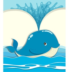 Whale splashing water out vector