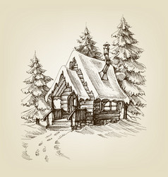 Winter cabin exterior pine trees forest and snow vector
