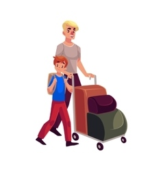 Young man pushing luggage trolley with his vector