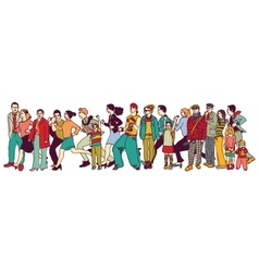 Big group people standing queue tail waiting line vector image vector image