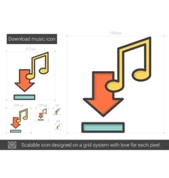 Download music line icon vector