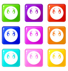 emoticons 9 set vector image