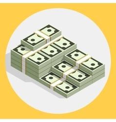 Piles stacks cash money flat vector image