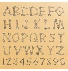 tools alphabet sketch vector image