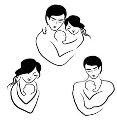 family icon symbol parents sketch vector image vector image