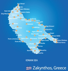 Island of Zakynthos in Greece map vector image vector image
