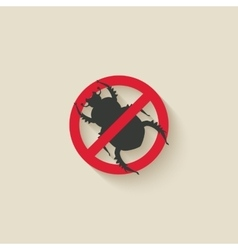 beetle warning sign vector image vector image