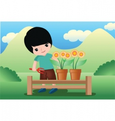 flower kid vector image vector image