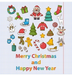 Happy New Year and Merry Christmas set vector image