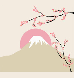 pink floral branch and mount fuji vector image