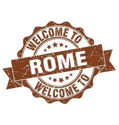 rome round ribbon seal vector image