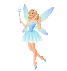 beautiful blue fairy with magic wand and vector image vector image