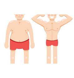 before and after weight loss half vector image