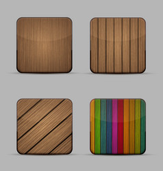 modern wooden icons set on gray background vector image