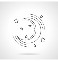 Moon and stars flat line icon vector image