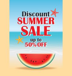 Summer sale beach and watermelon background vector