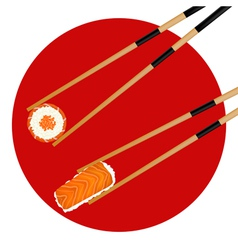 Sushi roll red caviar and shrimp in chopsticks vector image