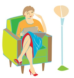 woman reading on armchair vector image vector image