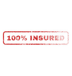 100 percent insured rubber stamp vector