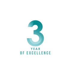 3 year excellence template design vector