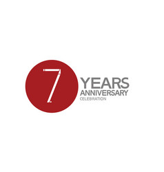 7 years anniversary logotype design with big red vector