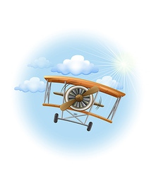 A vintage propeller-powered aircraft in the sky vector