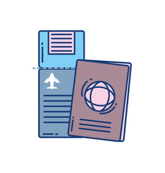 airline ticket and passport travel aviation vector image