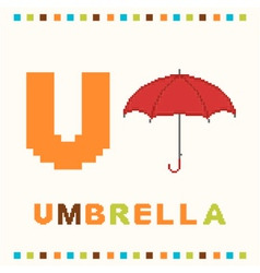 alphabet for children letter u and an umbrella vector image