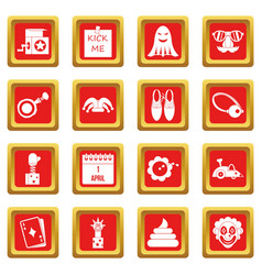 April fools day icons set red vector