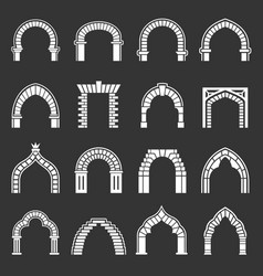 arch types icons set grey vector image