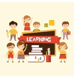Back to school Lovely children learn vector