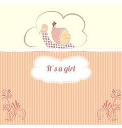 bashower card with little girl sleep vector image