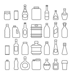 beverage packaging icons vector image