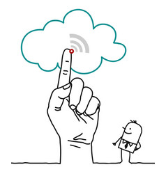 Big hand and cartoon characters - the cloud vector