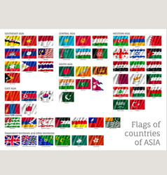 Big set of flags of asia vector