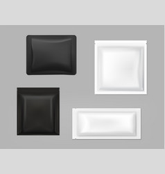 black white antibacterial wipe sachets set vector image