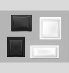 black white antibacterial wipe sachets set vector image