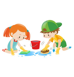 boy and girl cleaning the floor vector image