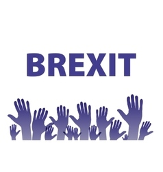 Brexit Text Isolated hand flag of the vector