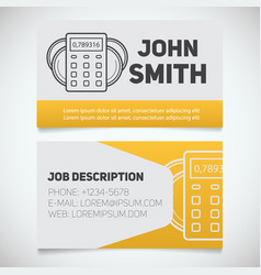 Business card print template with calculator vector