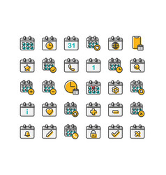 calendar filled outline icon set vector image