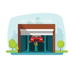 Car repair help garage auto service center with vector