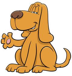 Cartoon dog animal character waving paw vector