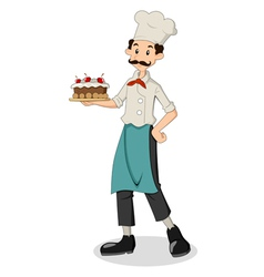 Chef With Cake vector image