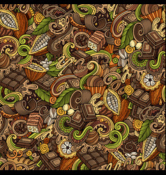 Chocolate hand drawn doodles seamless pattern vector