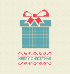 christmas card with pattern and gift box vector image