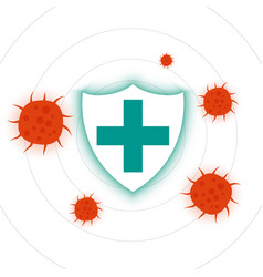 Coronavirus protection shield with cross sign vector