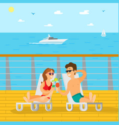couple relaxing on wooden pier summer vacation vector image