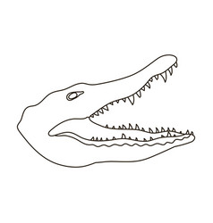 crocodile icon in outline style isolated on white vector image