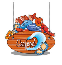 Delicious set of sea food with label vector
